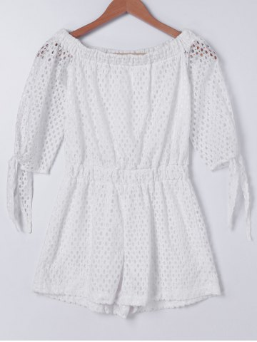 Chic Sweet Off-The-Shoulder Openwork Knot Tunic Short Sleeve Romper For Women