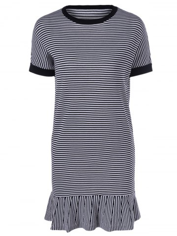 Hot Casual Women's Scoop Neck Striped Short Sleeves Ruffles Hem Dress