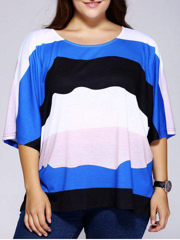 Chic Casual Loose-Fitting Scoop Neck Color Block Stripe Top For Women COLORMIX 2XL