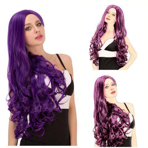 Outfits Charming Long Fluffy Wavy Side Parting Purple Synthetic Capless Cosplay Wig For Women
