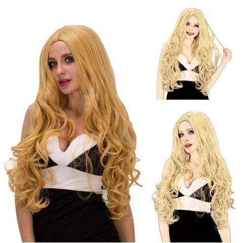 Chic Charming Long Fluffy Wavy Middle Part Golden Synthetic Capless Cosplay Wig For Women