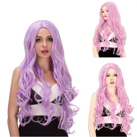 New Vogue Long Fluffy Wavy Middle Part Lavender Synthetic Capless Cosplay Wig For Women