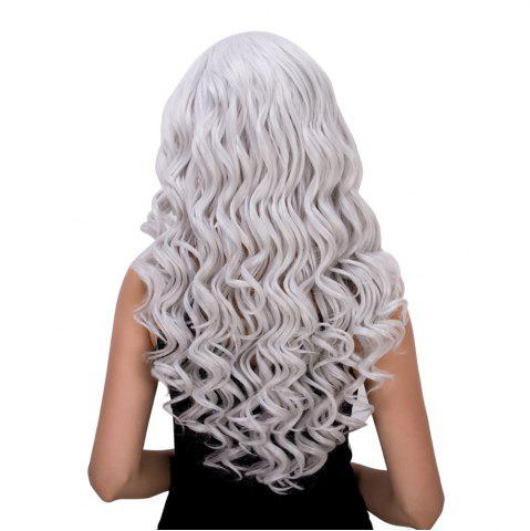 Best Vogue Long Loose Curly Silver White Synthetic Capless Cosplay Wig For Women - SILVER WHITE  Mobile