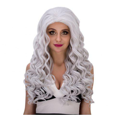 Affordable Vogue Long Loose Curly Silver White Synthetic Capless Cosplay Wig For Women - SILVER WHITE  Mobile