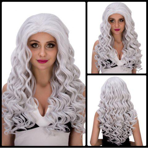 Latest Vogue Long Loose Curly Silver White Synthetic Capless Cosplay Wig For Women - SILVER WHITE  Mobile