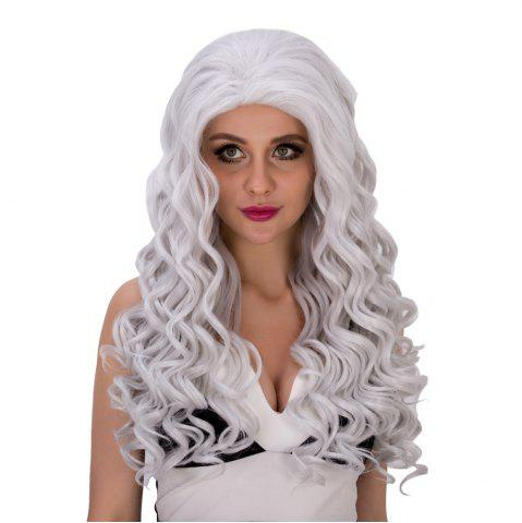 Hot Vogue Long Loose Curly Silver White Synthetic Capless Cosplay Wig For Women - SILVER WHITE  Mobile
