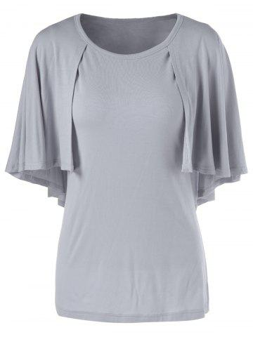 Best Fashionable 3/4 Sleeve Short Sleeve Solid Color Loose-Fitting T-Shirt GRAY L