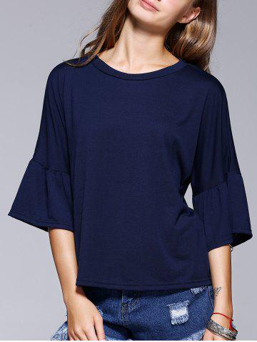 Outfits Chic Flare Sleeve Solid Color T-Shirt For Women