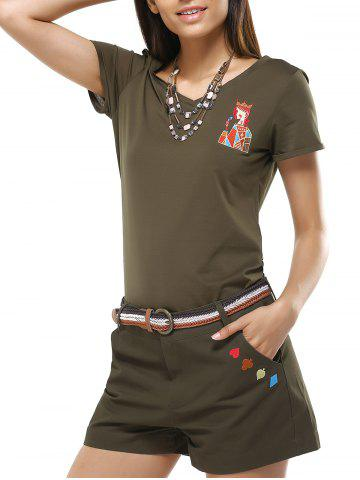Online Chic Women's V-Neck Girl Pattern T-Shirt and Shorts Twinset