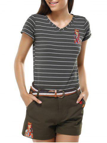 Unique Simple Women's Striped Girl Pattern T-Shirt and Shorts Twinset