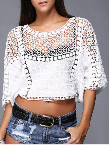 Trendy Brief Women's Crochet Batwing Sleeves Crop Top