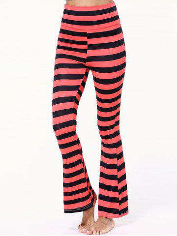 Shop High Waist Striped Bell Bottom Stretchy Pants