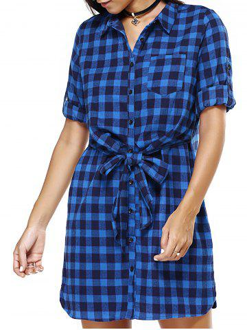 Discount Blue Checked Print Bowtie Belted Loose Shirt Dress