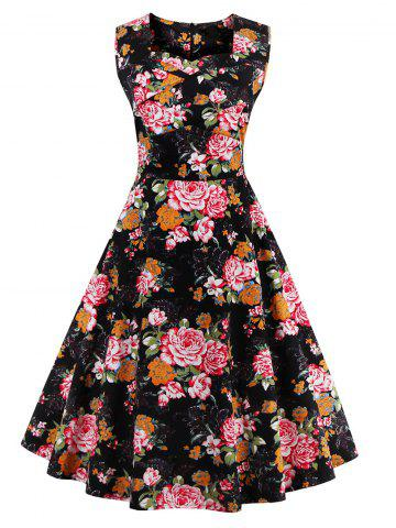 Outfit Retro Sleeveless Floral Tea Length Skater Dress COLORMIX S