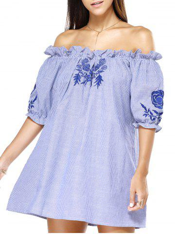 Unique Off The Shoulder Blue Stripe Embroidered Frilly Loose Dress