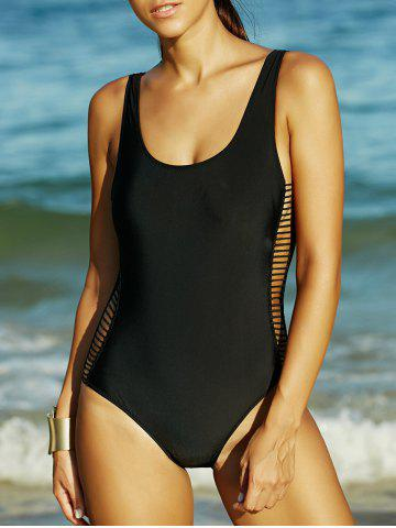 Affordable Black Hollow Out Backless One-Piece Swimsuit BLACK XL