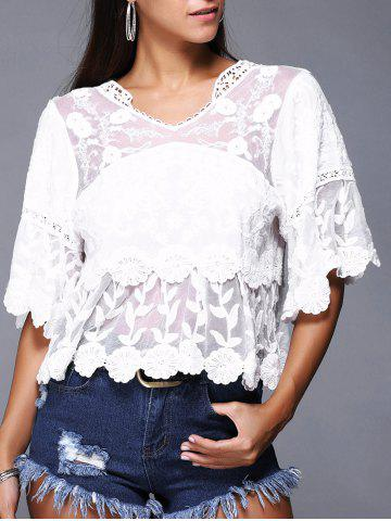 New Chic Women's Crochet-Trim Bell Sleeves Lace Blouse
