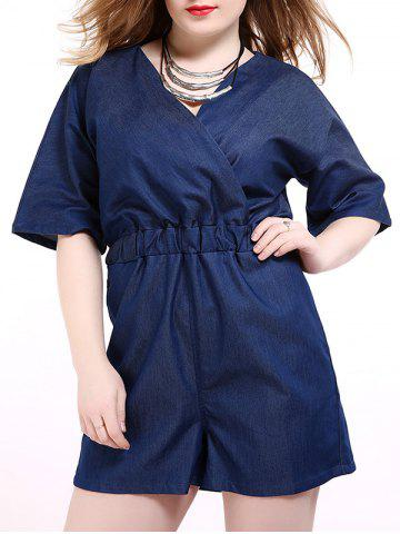 Fancy Plus Size Surplice Short Denim Romper with Pocket