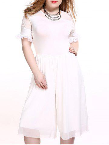 Outfits Plus Size Flounced Sleeve Palazzo Culotte Jumpsuit