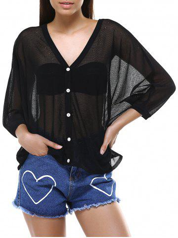 Discount Lace Splicing See-Through Buttoned Cardigan