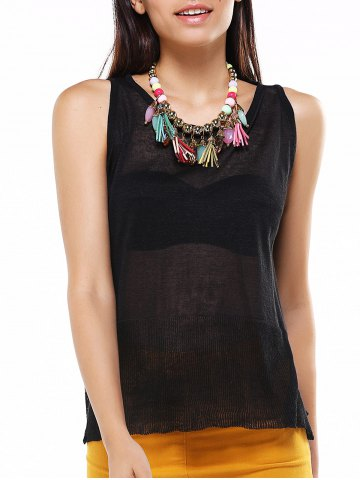 Store Asymmetric See-Through Back Buttoned Top