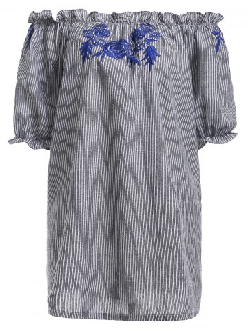 Hot Off The Shoulder Striped Embroidery Dress