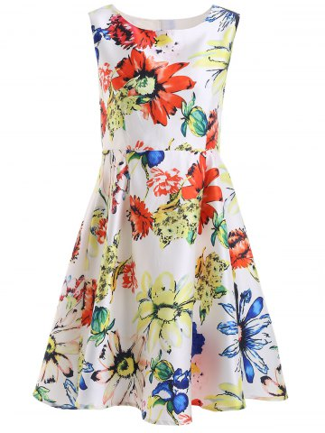 Cheap Sweet Floral Pattern Zippered Mini Dress