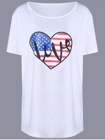 Discount Oversized Casual Heart Flag Pattern Long T-Shirt