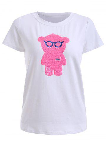 Outfits Pink Bear Pattern Sequined Tee