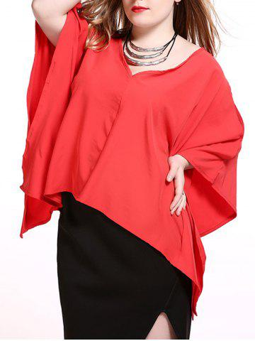 Sale Plus Size Alluring Slit Sleeve Asymmetrical Blouse