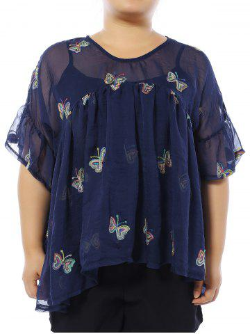 Hot Plus Size Butterfly Embroidered Blouse with Camisole