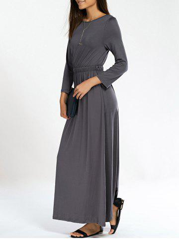 Outfit Long Sleeve Jewel Neck Pure Color Dress