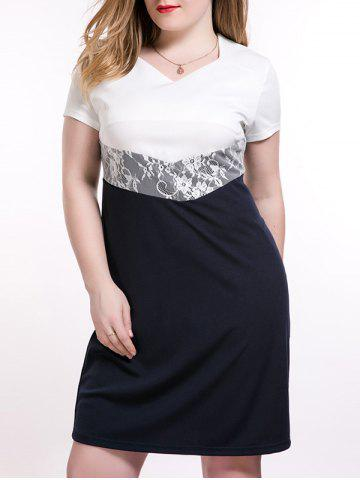 Plus Size Lace Insert Two Tone Dress - DEEP BLUE 6XL