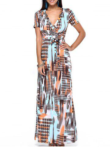 Fancy Plunging Neck Print Wrap Evening Dress