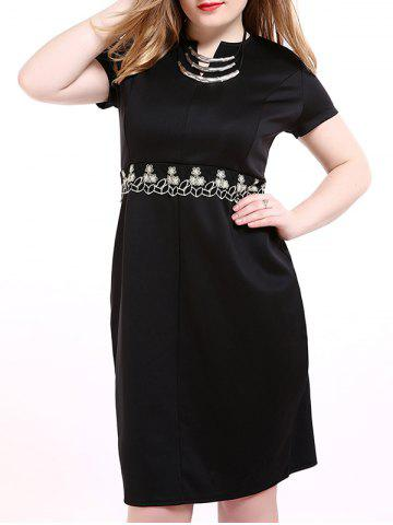 Outfit Oversized Sophisticated Tiny Flower Embroidered Dress BLACK 6XL