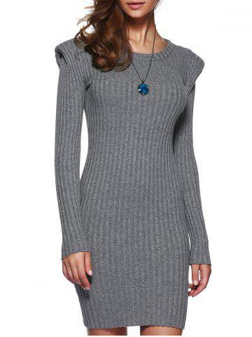 Trendy Grey Knitted Bodycon Dress with Long Sleeves