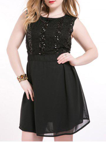 Fancy Oversized Chci Black Sequin Skater Dress