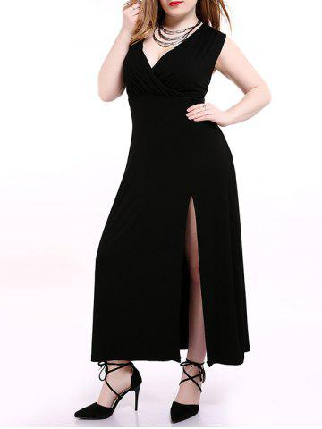 Sale Plus Size Alluring High Slit Black Dress