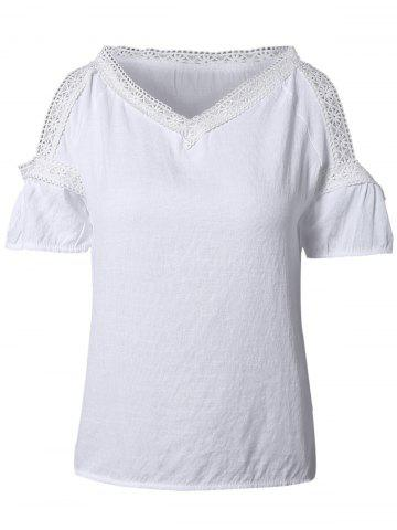 Outfit Sweet V-Neck Lace Splicing Women's T-Shirt