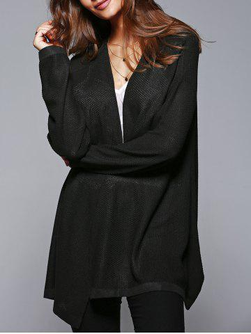 New Collarless Black Loose Fitting High Low Knit Cardigan