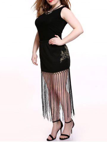 Store Plus Size Alluring Floral Pattern Fringed Skirt