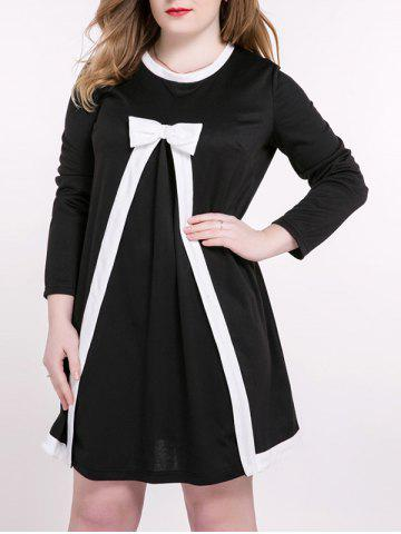 Plus Size Sweet Bowknot Embellished Princess Dress - White And Black - Xl