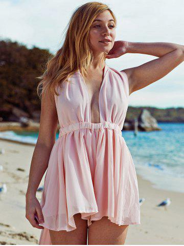 Plunging Neck Open Back Pink Chiffon Romper