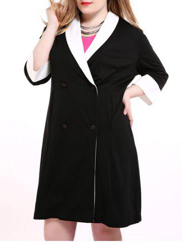 New Plus Size Shawl Collar Double Breasted Coat