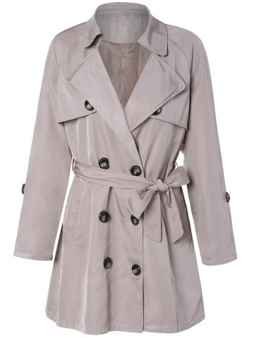 Sale Plus Size Tie Belt Double Breasted Long Trench Coat