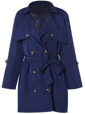 Latest Plus Size Tie Belt Double Breasted Long Trench Coat