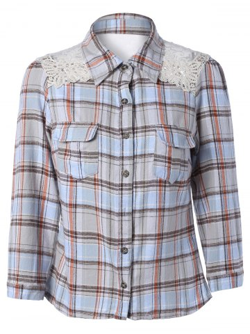 Sale Lace Splicing Long Sleeve Pocket Design Plaid Shirt