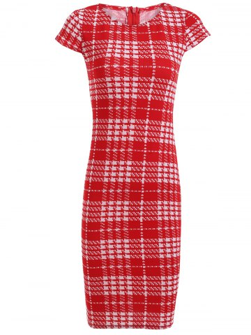 Chic Bodycon Short Sleeve Round Neck Plaid Dress