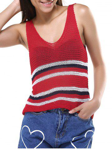 Cheap Simple Women's Red Striped Open Work Tank Top