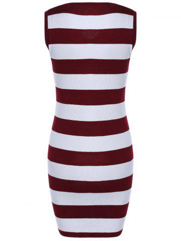 Fancy Sleeveless Hollow Out Striped Knitted Dress -   Mobile